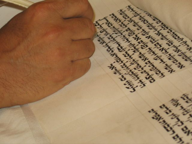writing the letters of the Sefer Torah.